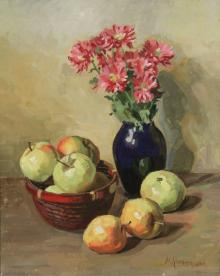 Still-life with Apples and a Vase of Flowers